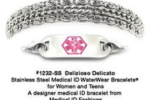 Stainless steel medical ID bracelets like you've never seen before! From Medical ID Fashions / Fashionable and stylish these stainless steel medical ID bracelets are very different from those ugly drugstore chains. They're designed by artist and cancer survivor Abbe Sennett of Medical ID Fashions. So if you need help in ordering or have questions call 847-638-2223 and come see the whole line of our stainless steel Medical ID's at https://medicalidfashions.com/store/stainless-steel-bracelets