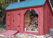 Firewood Storage. JCS / Bringing gardens the most efficient, highly functioning, BEAUTIFUL shed kits (estimated assembly time for a medium size model is 2 people, 30 hours), plans ($9.95-$49.95) + fully assembled storage. In house staff at toll free 1-866-297-3760 Mon-Fri 8-5, Saturday 9-4 + Sunday by chance or appointment. EST. Or email design@jamaicacottageshop.com