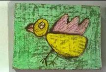 disegni di bambini / disegni di bambini reinterpretati e dipinti con pigmenti gesso e cera su tavole