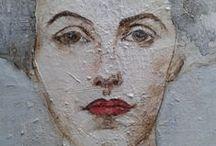 dipinti su legno / donne,nudi,volti e particolari