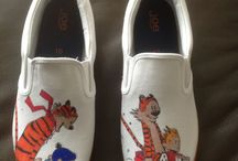 Custom painted shoes / Hand drawn and inked slip on's