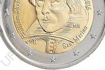 """Cod. 281: 2 euro commemorativo """"Shakespeare"""" / Valore: €2,00 Parte esterna: rame –nichel  Parte interna a tre strati: nichel-ottone, nichel, nichel ottone Bordo: zigrinatura fine con """" """" e """"2"""" ripetuti 6 volte, alternativamente dritti e capovolti      Peso: gr. 8,50 Diametro: mm. 25,75 Spessore: mm. 2,20 Autore bozzetto (dritto): Matt Bonaccorsi Tiratura massima: 80.000 serie fior di conio Prezzo di vendita: €16,00 + IVA vigente per residenti in Italia"""