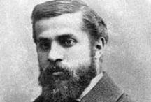 Architect | Antoni Gaudí / Antoni Gaudí i Cornet. Born: 25 June 1852, Reus, Catalonia, Spain. Died: 10 June 1926 (aged 73), Barcelona, Catalonia, Spain. Buildings: Sagrada Família, Casa Milà, Casa Batlló. Projects: Park Güell, Colònia Güell. / by Helena D.