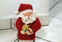 Natal / Enfeites de Natal , em juta e crochê com barbante