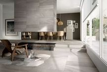 Concrete & cement inspired looks / cement & concrete are influencing everything from bathrooms to kitchens to living areas. #tiles