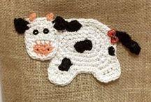 Crochê - aplicações / Aplicações em crochê para, acessórios de cozinha, tapetes e outros.