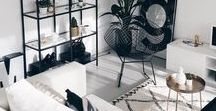 Interior /  wood, white, black, green, grey, brown, rosegold, gold, (pop colours, shapes, plants)