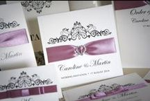 Wedding Stationery - Tie the Knot Collection / Our handmade rustic country style Country Elegance collection is printed on beautiful texture kraft card and extra smooth card decorated with a truly stunning rhinestone pearl cluster embellishment, satin ribbon, grosgrain ribbon and lace. www.serendipityweddingdesign.co.uk