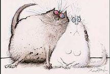 les chats de Ronald Searle / 1920 - 2011, dessinateur de presse et illustrateur anglais