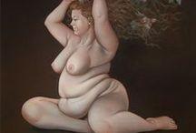 La ronde des rondes de Lilli Hill / Lilli Hill est son propre modèle, face à un miroir ou devant un appareil photo, elle se met en scène avec soin, nue, puis peint des autoportraits sans concession, avec humour et autodérision.