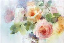 Aquarela - Flores e Folhas