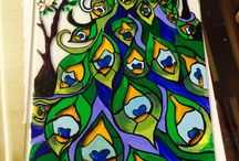 Glass painting. / Painting with acrylic and glass paint. Finish off with a fixative.