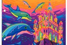 "Lisa Frank / Lisa Frank was big when I was a kid and see that her stuff is still going strong. Her stuff might not be ""great"" art in the same sense as a Picasso, but it is fun, bright and adds some joy to otherwise boring days."