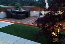 Roof terrace 3 / Roof terrace overlooking the Grand Union Canal with hardwood deck, artificial grass, sandstone paving & LED lighting