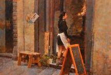 James Crandall - Fine Art Gallery / James Crandall's impressionistic paintings capture those brief and unstaged moments of people at work and play. These slices of life spark Crandall's imagination and ours with intimate scenes that would normally pass by us unnoticed, but which evoke a common sense of humanity.