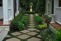 Garden / Gardens ideas and design.  Classic and traditional landscape design.  Hydrangeas, hedges, topiary