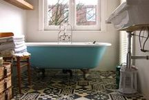 "Clean Vintage Bathrooms / Eclectic mix of old & new that comes together in a style we call ""Clean Vintage""."