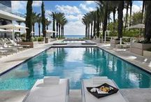 Pools & Recreation / Overlooking the white sandy beaches of the Atlantic Ocean in the Bal Harbour area of Miami, our Palm Garden in the Hotel grounds is a beach-side oasis with space to relax and unwind. Absorb yourself in a new book in a lounge chair at our Palm Garden, splash with the kids in our oceanfront pools or sip a cocktail in the comfort of your lounge chair at our rooftop Sky Pool for adults only, whilst looking out over the Miami skyline and beyond.