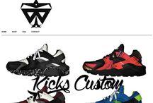 Nike Air Force / Huarache / Roshe Run - Custom by Waxfeller / Nike Huarache customized by Waxfeller with paint and/or Ankara fabrics (African prints)