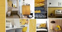 planche ambiance déco jaune moutarde / Donnez du piquant à votre décoration avec le jaune moutarde by Secrets déco
