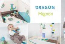 Collection - Dragon mignon / On craque pour ce linge de lit (tour de lit, gigoteuse, pyjama bébé et ses nombreux accessoires)