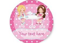 Girl's Birthday Tea Party Shabby-Chic Personalised Suite / Tea Parties are all the rage right now and tie in nicely with the Cupcake theme as well. These modern and trendy little Girls' Shabby Chic Tea Party Invitations and Accessories are sure to make your event is epic!