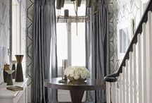 Thoroughfares | Window Treatment Inspiration / Inspirations to help with selecting window treatments for the entrance and hallway. Whether it be plantation shutters, drapes, sheers, pelmet boxes, valances, roller or Roman blinds.