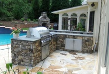 outdoor kitchens and grill enclosures  / A variety of many outdoor kitchens and grill enclosures in the Atlanta area~ many by Arnold Masonry and Concrete