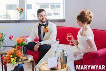 Toledo Registry Bistro Wedding by Mary Wyar Photography / Toledo Wedding Photographer Secor Building Registry Bistro modern aqua orange wedding ideas bright retro mod wedding