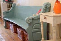 Entryways / Cozy, functional, vintage modern, unique entryways utilizing vintage, repurposed, or antique furniture or home decor items.
