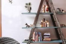 Ladders. Stairways to Heaven, or at least to the hayloft? / Vintage and antique ladders, repurposed for home decor!