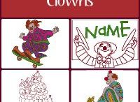 Clowns Embroidery Designs / Embroidery designs of Clowns. Circus clowns, that is. Filled and Rework, they're all clowning around.