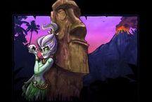 Tiki and Moai