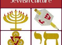 Jewish Culture Embroidery Designs / Embroidery designs representing Jewish culture.