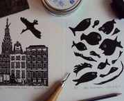 Linocuts by Angela Kuckartz / Since 1988 I am working with linocut for prints and small leporello books.