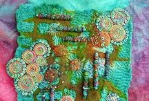 Fiber Art / additional fiber art on boards: Embroidery ~ Sue Spargo and Embroidery ~ Wee Folk