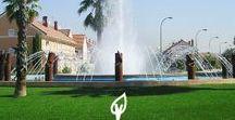 Césped Artificial zonas públicas / Usos del césped artificial decorativo Verdalia en espacios públicos
