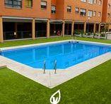 Piscina con césped artificial / Decora tu jardín con piscina y césped artificial Verdalia.