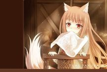 """Spice & Wolf / Spice & Wolf  The peddler Kraft Lawrence travels through the world selling all kinds of things. After visiting a village, he discovers a sleeping girl under the pelts in his cart. She has wolf ears and a tail. The wolf girl explains that she has been called a """"god,"""" but that her name is Holo and nothing more. Lawrence teases the girl a little and he is moved and decides to accompany her further north."""