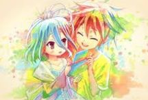 No Game No Life / The series revolves around 18-year-old sibling Sora and 11-year-old Shiro. They NEETami and hikikomori who spend all day playing computer games, in which are second to none. At some point, are playing a winning game of chess with God orities, which takes sibling to another world. In this world of Sora and Shiro belong to the weakest of the 16 races and try to be the strongest of tchem.
