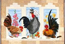 Quilts - Chickens and Rooster Wall Hanging / Chickens and Roosters make the cutest Wall Hangings and even mug rugs.  Some of these pins are not quilts but help me to design my own quilts.