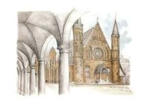 Architectural drawings / These are lithographs of drawings of The Hague in Holland done by Jean Elliot.