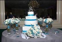 Staci & David Reception / White, Blues and Grays filled this hall for Stacy and David's beautiful Reception hosted at Michael's 8th Avenue!