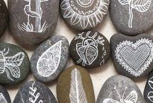 rock writing + leaf painting