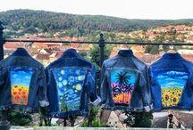 Handmade denim jacket painted by Ciprian Calbeaza / By Ciprian Calbeaza