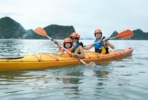 """Vietnam: Halong Bay Kayaking / Halong Bay in Vietnam is the most spectacular sea kayaking destination in the world. The bay's name means """"descending dragon,"""" and the mythical beasts are said to have created the rocky islets that form a maze of protected waterways. Halong Bay with more than a thousand limestone peaks soaring from its crystalline emerald water. The calm sea provides an ideal location for sea kayaking as we paddle through a maze of islets amid dramatic natural scenery. #KayakingHaLongBay #VietnamKayaking"""