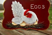 Rooster may crow but Hen delivers the eggs. / Roosters, hens decor