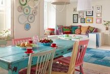 red and teal/turquoise kitchen  / by Charlene D'Eon-Weis