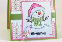 Let it SNOW! Card ideas / Snowman and winter handmade cards using From the Heart Stamps.