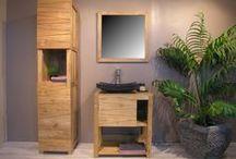 "Collection Cosy / Ensemble de meubles de salle de bain collection ""Cosy"" simple ou double en teck massif .  Créateur de mobilier Wanda Collection"